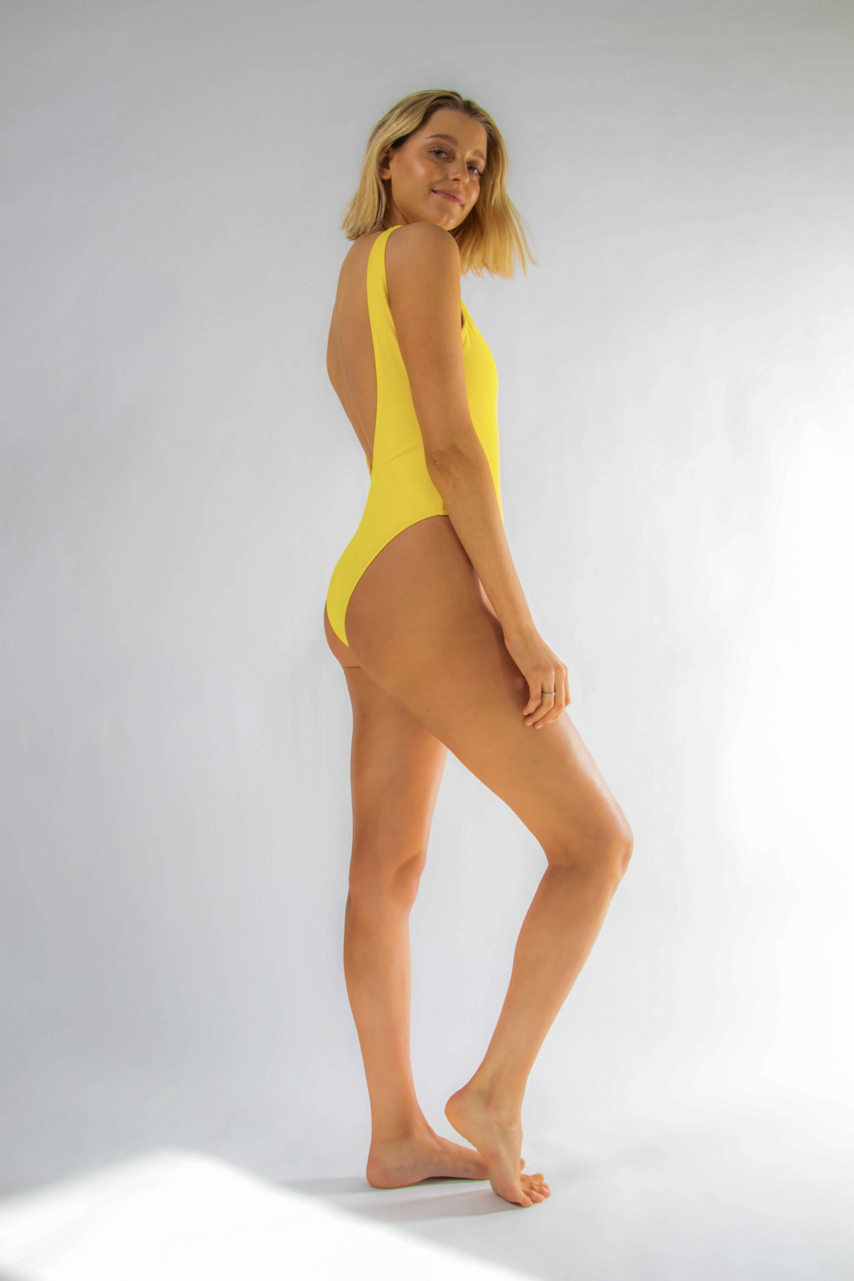 Miami Neon Yellow Backless Swimsuit